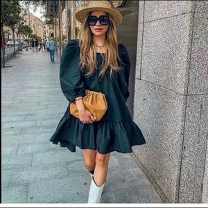 Hm puff sleeve black mini dress